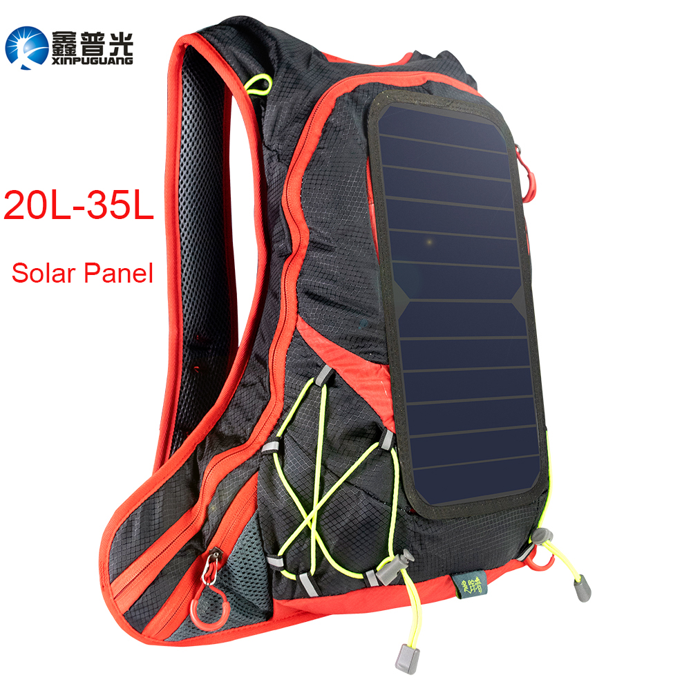 Xinpuguang 6W 6V USB Red Backpack Solar Panel Battery Power Bank Charger for Smartphone Outdoor Camping