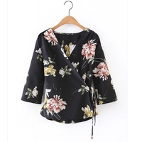 New Women Tops Vintage V Neck Flower Print Kimono Blouse Shirts Bandage Bow Tied Casual Slim