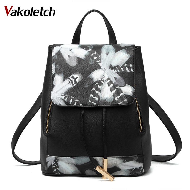 Floral School Bags For Teenage Girls Female Rucksack Preppy Style School Backpack Artificial Leather Women Shoulder Bag KL357