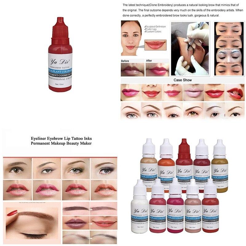 цена на 22 Pcs Permanent Ink Makeup Pigment Cosmetic Permanent Eyebrow Eyeliner Lip Tattoo Ink Permanent Body Painting Beauty Tools Ink