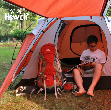Hot Sale Hewolf Tent 3 Person Double Layer Set Waterproof Outdoor Tourist Equipment Mountaineering 4 Man Hunting Tents For C&i-in Tents from Sports ... & Hot Sale Hewolf Tent 3 Person Double Layer Set Waterproof Outdoor ...
