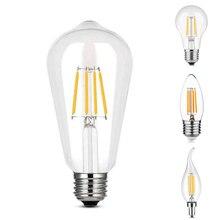 Эдисон светодиодные лампы E27/E14 Винтаж светодиодный светильник лампочка 220V 4 Вт, теплый белый свет Вольфрам прозрачная стеклянная лампа Эдисона энергосбережения безопасности