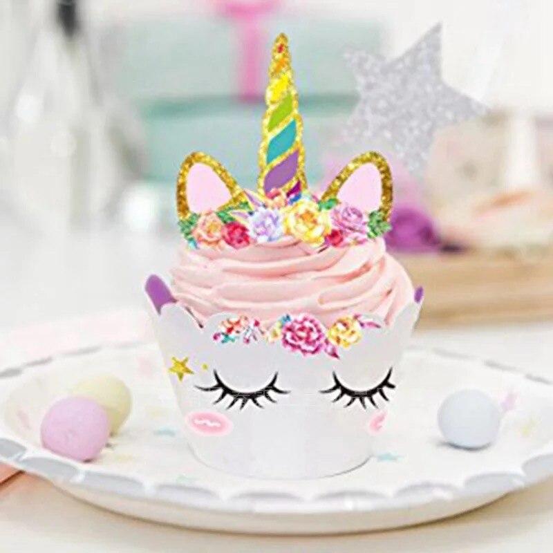24 Pcs Cake Toppers Unicorn Rainbow Pattern Party Wedding Birthday Cake Deco DIY