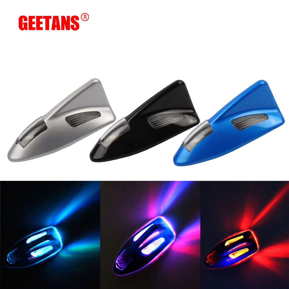 GEETAN Solar Automobile Anti-Collision Warning Lamp LED Strobe Lamp dengan Seven Fin Shark Bilateral Pada Permulaan J