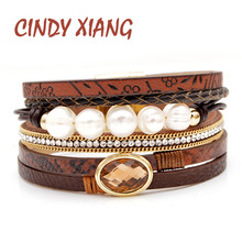 CINDY XIANG Freshwater Pearl Leather Bracelets Unisex Women And Men Cuff Bangles Fashion Summer Cool Bracelet High Quality New недорого