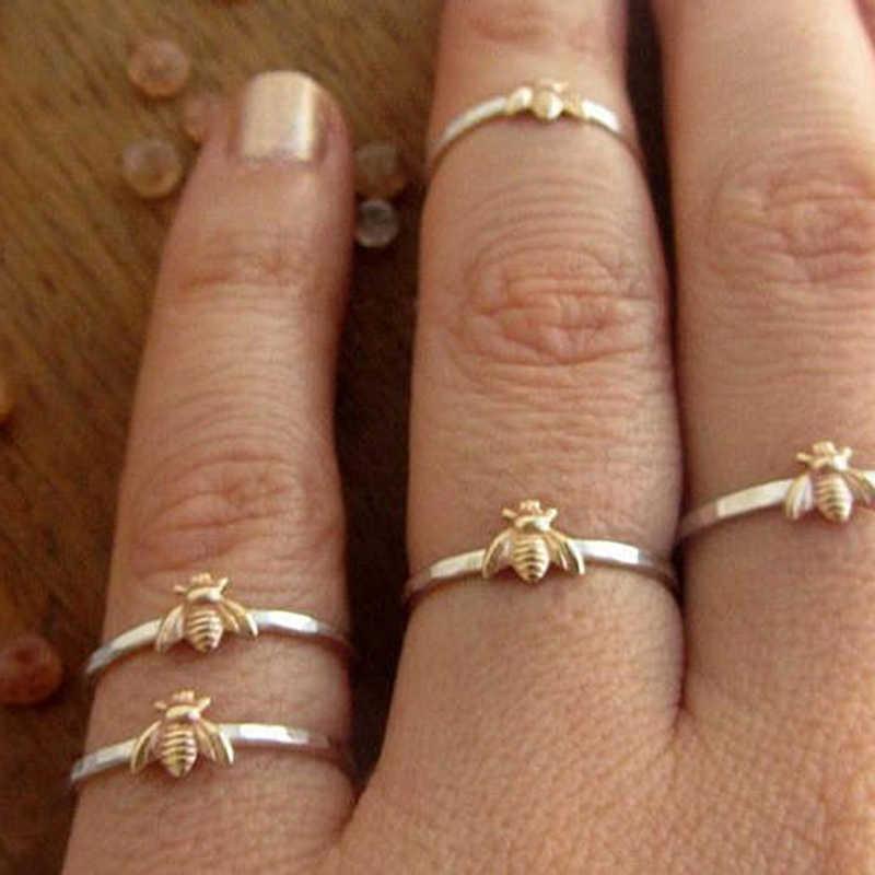ผู้หญิงแฟชั่นผู้หญิงน่ารักผึ้งน้อยแหวนหญิงเก๋ Dainty แหวนแหวนเครื่องประดับงานแต่งงาน
