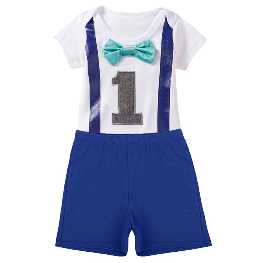 Cake Smash Outfit Baby Boys 1st Birthday Party Romper Clothes Gentleman Bowtie