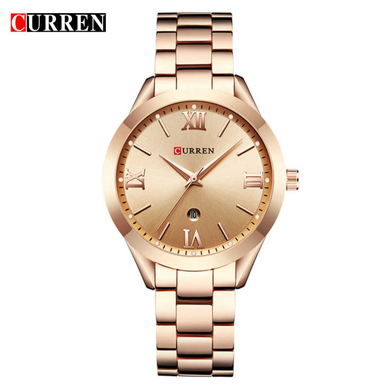 CURREN 9007 Women's Luxury Brand Gold Steel Bracelet Digital Watch Gift Watch