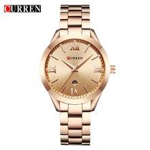 CURREN 9007 Womens Luxury Brand Gold Steel Bracelet Digital Watch Gift Watch