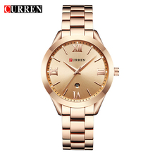 CURREN 9007 נשים של יוקרה מותג זהב פלדת צמיד דיגיטלי שעונים מתנה