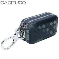 CAJIFUCO Weave Key Holder Leather Genuine Leather Key Wallet Key Organizer Zipper Coin Purse Car Key Wallet