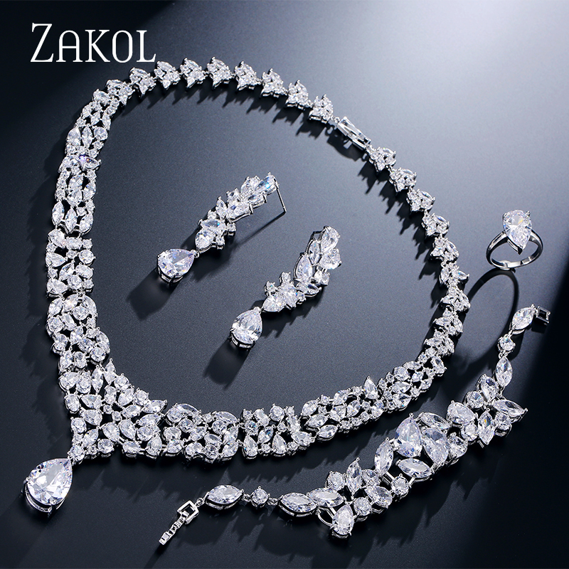ZAKOL Luxury Water Cubic Zirconia Bridal Jewelry Sets for Women Wedding Party Dinner Dress Jewelry FSSP236