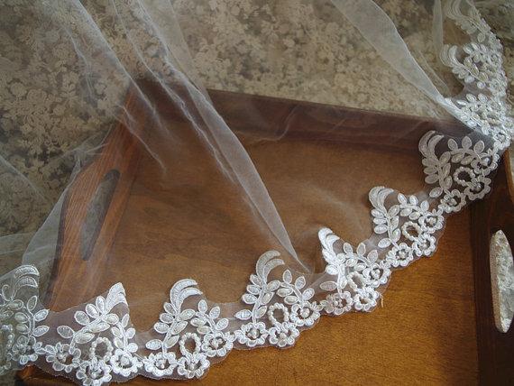Pearl Beaded Lace Trim Bridal Ivory Alencon Scalloped
