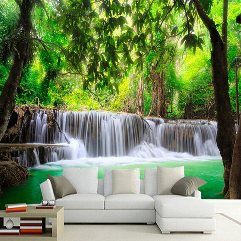 Custom 3D Photo Wallpaper 3D HD Jungle River Waterfall Mural Living Room TV Background Wall Murals Wallpaper Papel De Parede 3D Обои