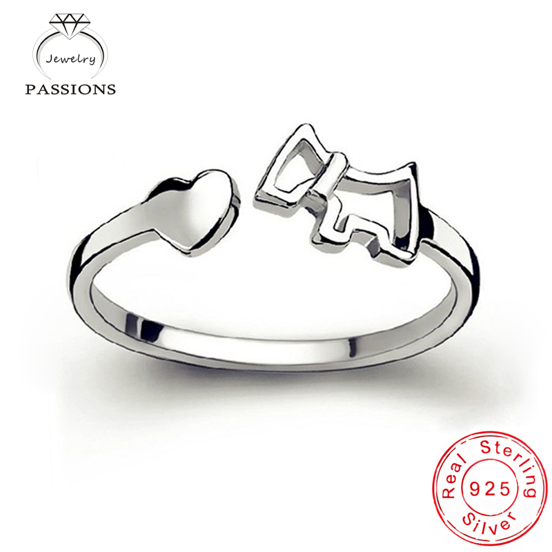 Borong Fesyen 925 Sterling Silver Rings Open Resizable Heart Pony Asymmetry Rings Wanita Perhiasan Trend Hadiah Cantik