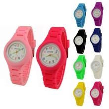 1pc cute children kids student watch quartz wristwatches Silicone boys girls thin contracted multicolor jelly watch fashion H4