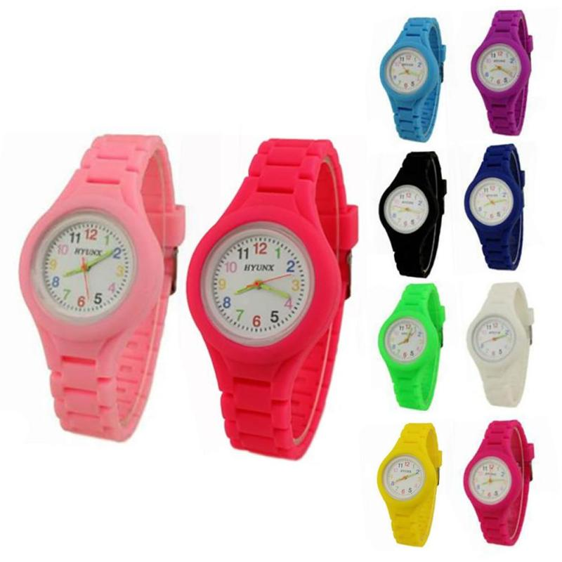 где купить 1pc cute children kids student watch quartz wristwatches Silicone boys girls thin contracted multicolor jelly watch fashion H4 дешево