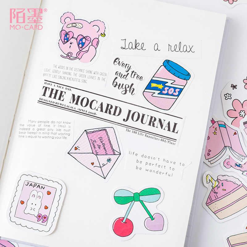 45 unids/pack Rosa Kawaii oso DIY pegatina de diario Etiqueta de Scrapbooking pegatina manual decoración artesanal diario Deco pegatinas