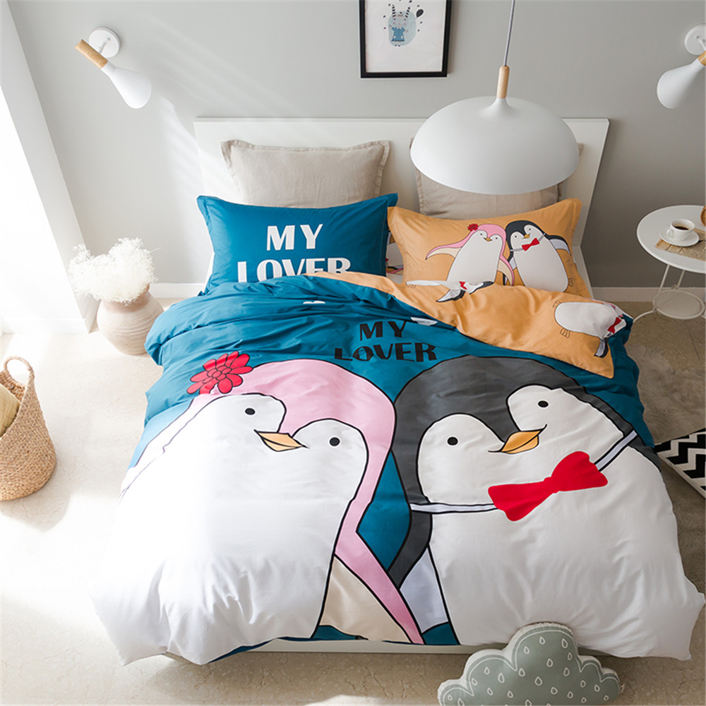 Blue and brown bedding for girls - Yeekin Cartoon Bedding Sets 4pcs Boys And Girls Home Textiles Decor Penguin Pattern Super Cute Blue