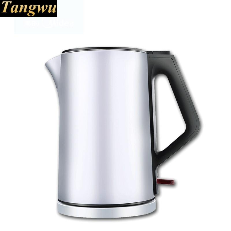 Electric heating kettle household 304 stainless steel real quick pot boiling tea double layer high quality electric kettle double wall insulation quick heating digital electric thermos water boiler home appliances for tea