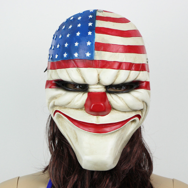 2015 halloween masks cosplay american flag clown cool resin army of two mask at the costume - Cool Masks For Halloween
