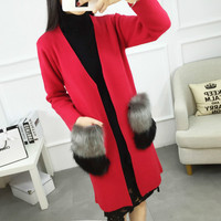 Jacket For Pregnane New Autumn Female Cashmere Cardigan Long Sweater V Neck Knit Shirt Slim Version