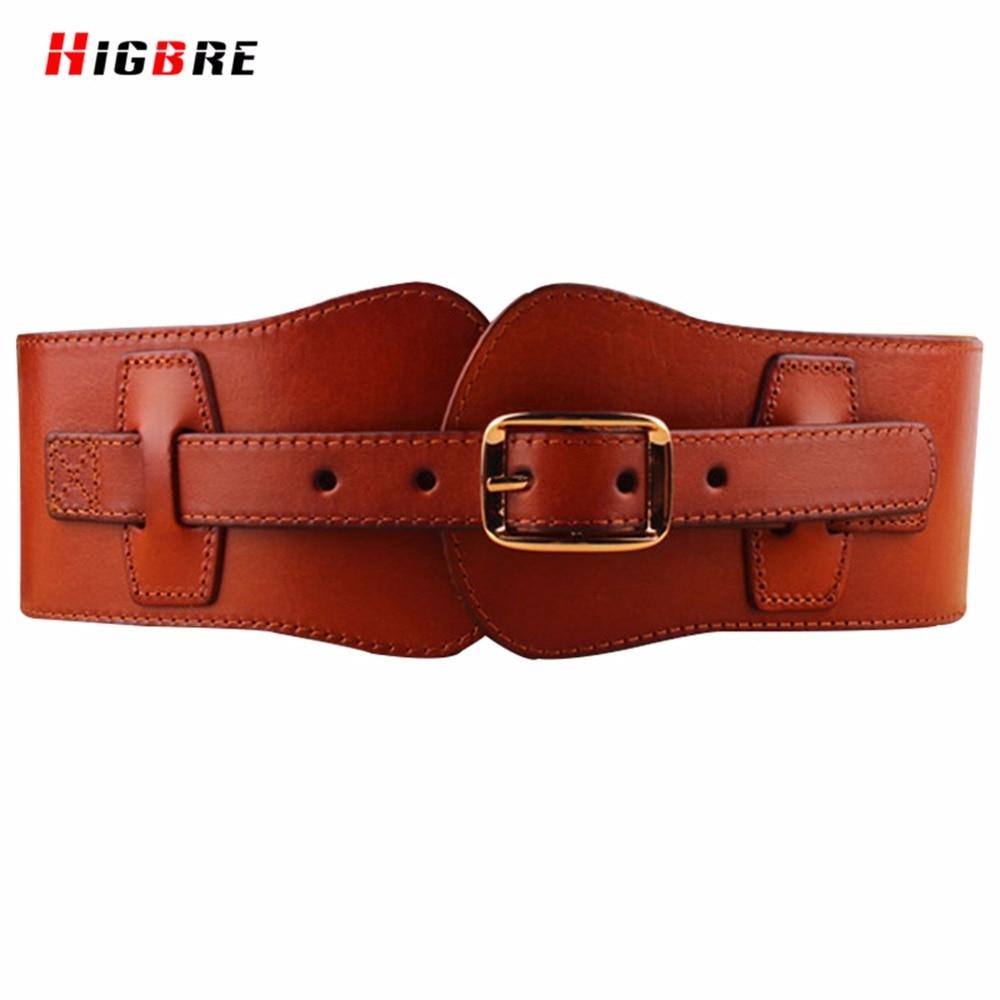Genuine Leather Cummerbunds Women Wide Belts Waist Designers Brand Luxury Cowboy Buckle Elastic Waistband Wide Belt For Women