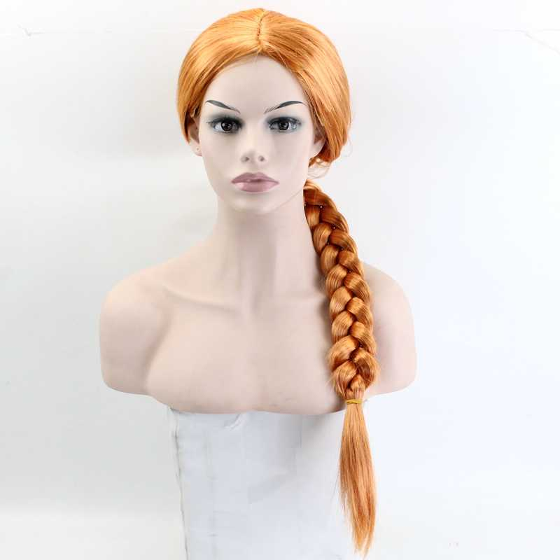 JOY&BEAUTY Fiona Wig Long Straight Cosplay Wig Synthetic Hair Orange Color 24 inch