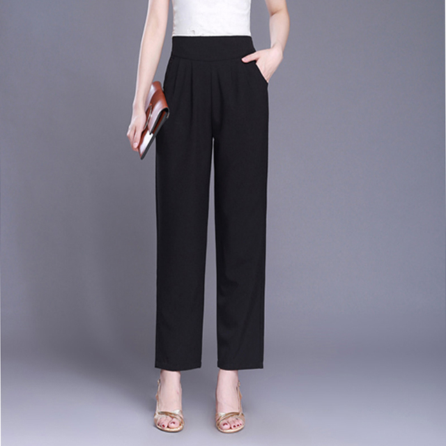 d951b3c334e03 Woman Spring Plus Size 40% Silk Pants Female Autumn Oversized Thin Trousers  Women Summer Breathable Capris Lady 40% Silk Pant