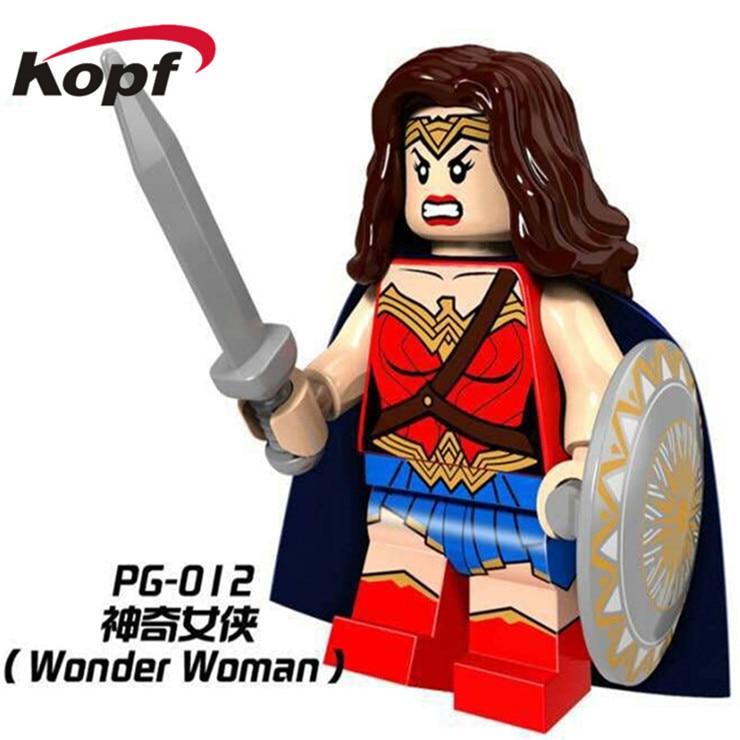 50 шт. pg012 Super Heroes Wonder Woman Капитан Америка Бэтмен Джокер Красная Шапочка aqua человек строительные Конструкторы кирпичи Детский подарок Игрушеч...