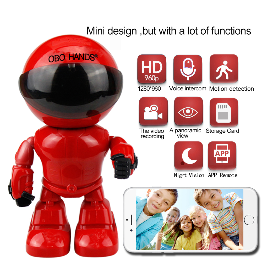 mini robot IP wifi camera 960P 1.3MP HD Wireless Wi-fi Night Vision Security Camera IP Network Camera CCTV support two-way audio