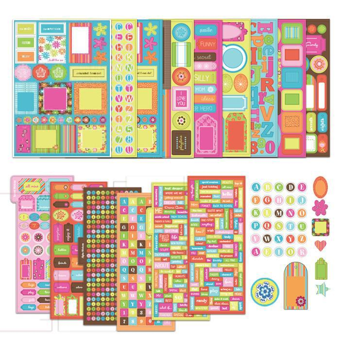 US $19 0  Handmade scrapbook Accent stickers phranse stickers frame punch  outs chipboad alphas 3d embellishments ,free shipping-in Stickers from Home