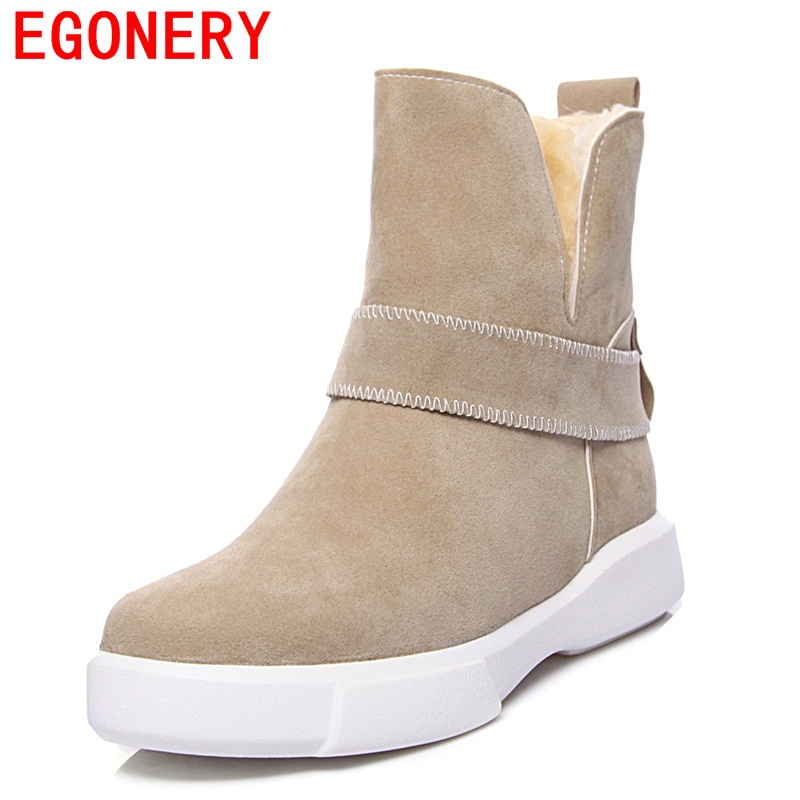 EGONERY women snow boots new style lady fashion buckle shoes outside good quality shoes slip on winter warm boots plus size 43cn цены онлайн