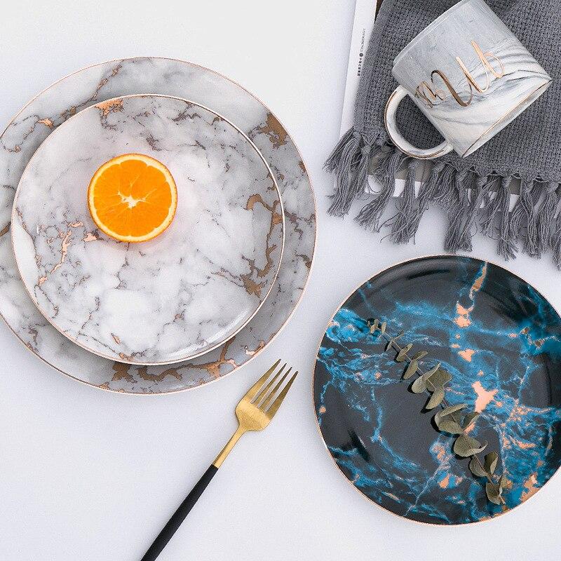1 piezas de vajilla de placas de mármol de la cena de cerámica incrustaciones de oro plato de postre de porcelana ensalada de carne comer pastel placas venta al por mayor