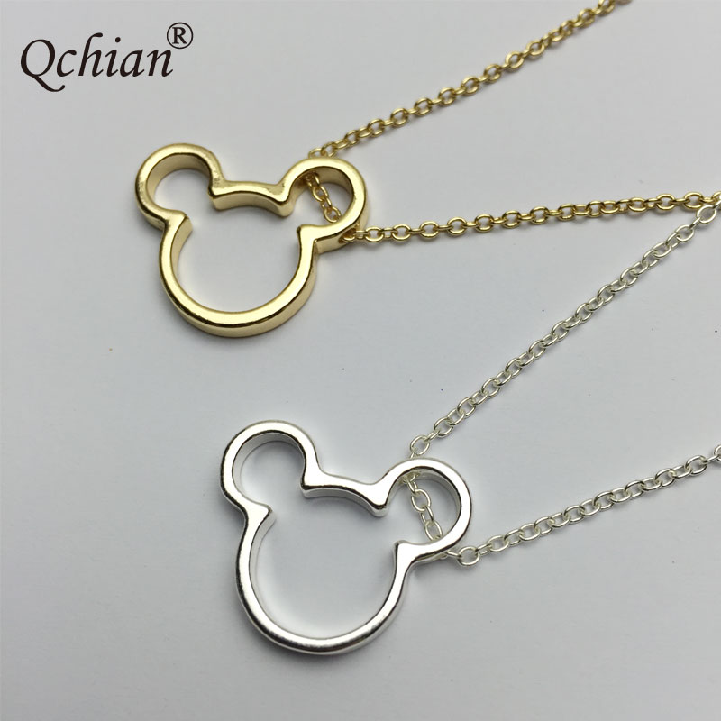 Fashion Simple Style Mickey Stainless Steel Metal Decorative Pendant Children's Jewelry Necklace Gift