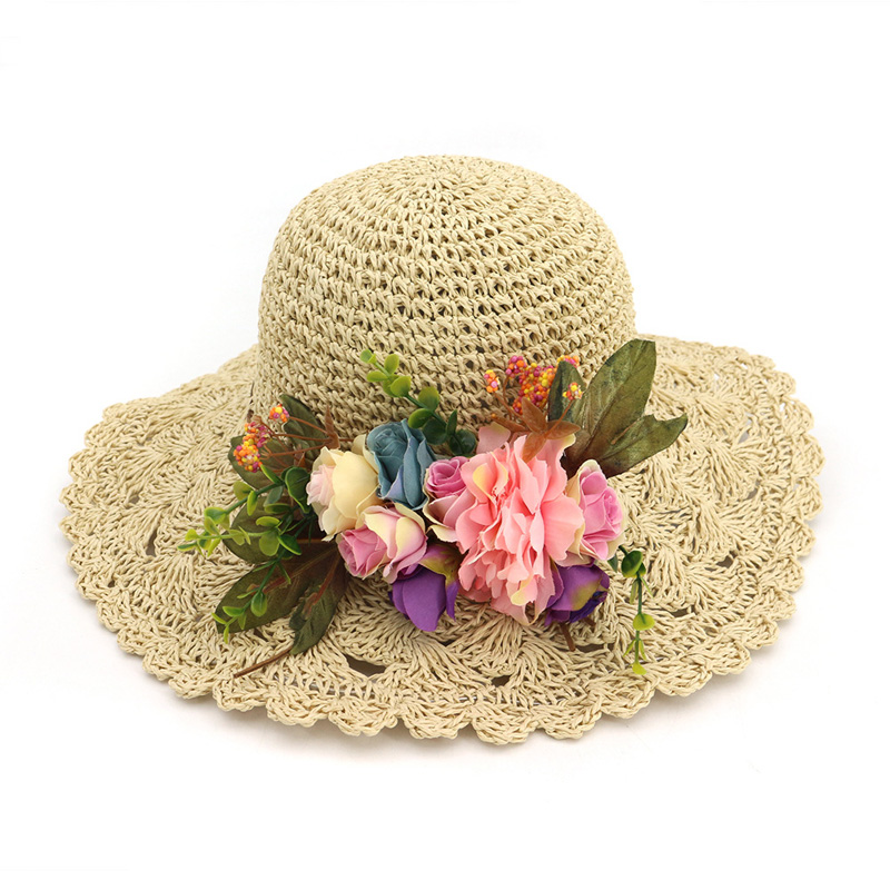 Trendy Travel Beach Hats For Women Large Brim Summer Sun Hats Vocation Seaside Straw Hat With Flowers