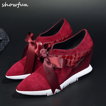 Women's wedge pointed toe lace-up sneakers brand designer riband bowtie fashion student shoes genuine suede leather footwear hot