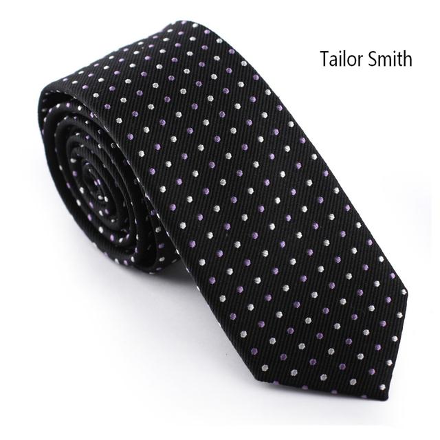 Sastre Neckie Smith 100% Tejido Jacquard de Seda Negro Blanco Pequeño rosado Del Lunar Corbata Formal de Negocios Vestido Elegante Traje Emparejado empate