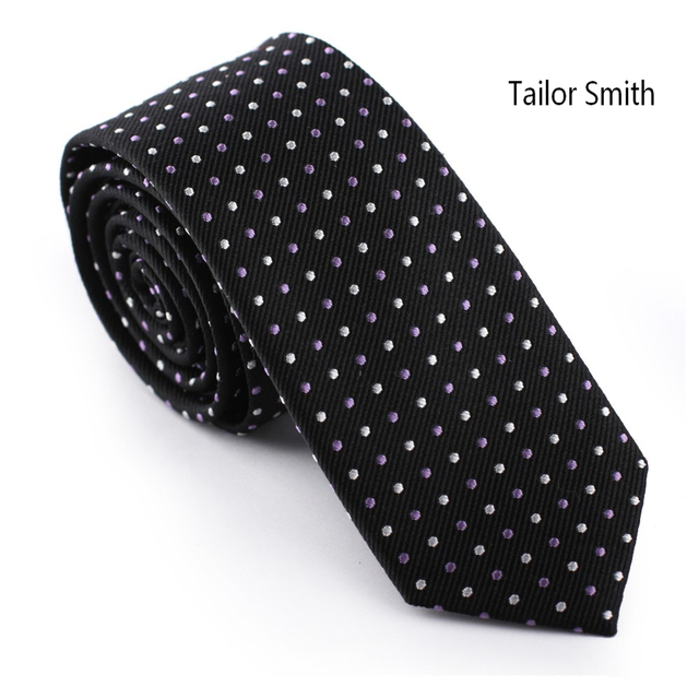 Tailor Smith 100% Silk Woven Jacquard Black Neckie Small White Pink Polka Dot Tie Formal Business Elegant Dress Suit Matched Tie