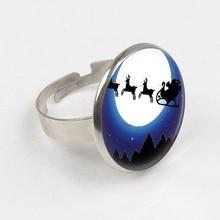 GDRGYB 2019 Christmas Ring Santa Claus Ring Santa's Sleigh Reindeer Art Ring Reindeer print glass Ring