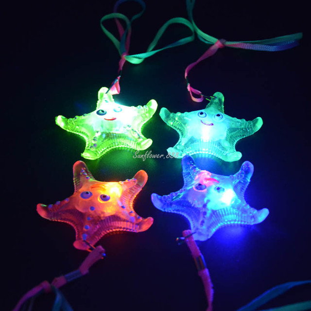 Awesome LIGHT UP FLASHING STAR FISH JELLY LED NECKLACES CHILDREN TOY Wedding  Decoration Halloween Amazing Pictures