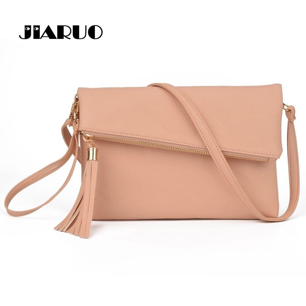 JIARUO 2017 New Tassel Design Women PU Leather Crossbody Messenger bag Small Sling Shoulder Bags Fold Closure Handbag Purses shoulder bag