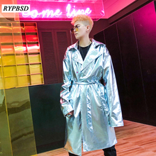 Silver Gold Performance Long Trench Men Coat Shiny Night Club Stage Dance Long S