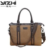 цены на YIZHI 2018 Business Men's Briefcase Computer Bag High Quality PU Leather + Canvas Shoulder Bag Holds 14