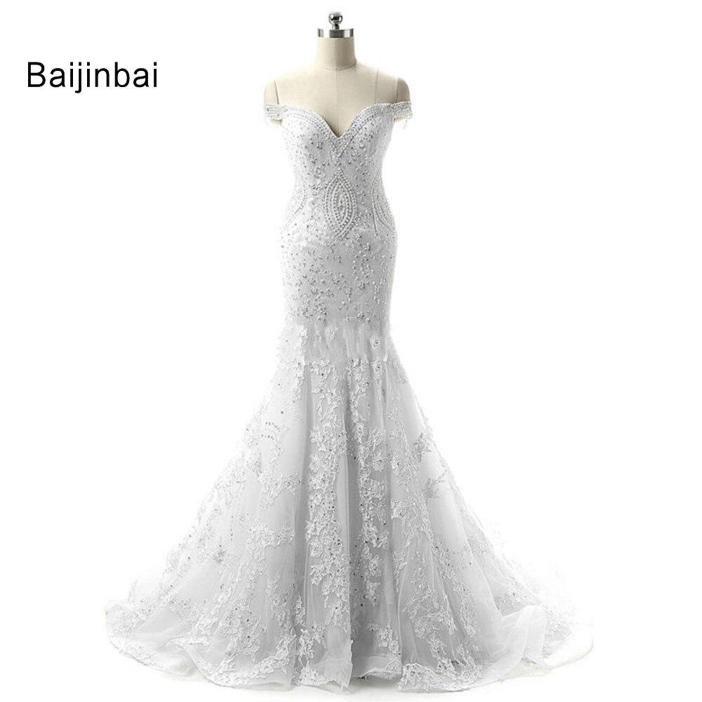 Baijinbai Vintage Lace Long Mermaid Wedding Dresses 2018 Sweetheart Beads Bridal Gown Appliques Court Train plus size S121904