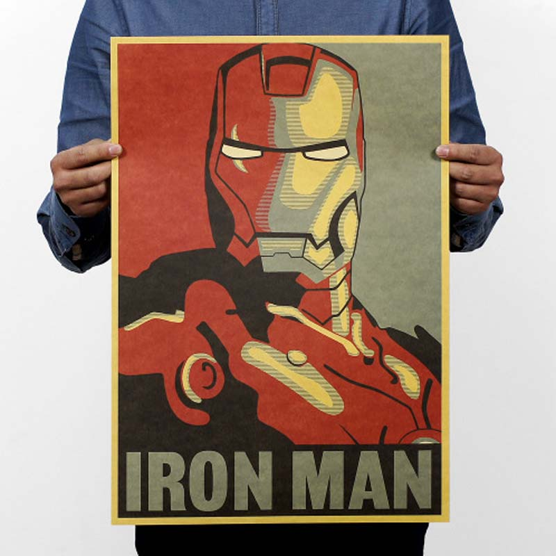 Vintage Movie Posters Retro Iron Man Poster Kraft Paper Drawing Classic Coffee Bar Home Decoration Painting Wall Sticker