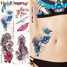 25 Style Blue Rose Flower Tattoo Stickers Women Body Waist Art Temporary Tattoo Girls Sexy Chest Flash Fake Tatto Neck Party Arm(China)