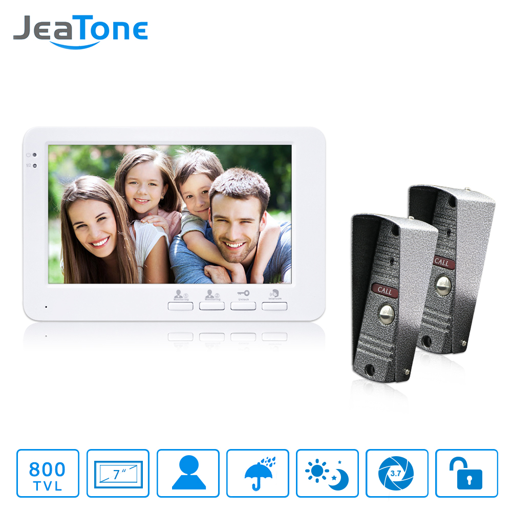 JeaTone Wired 7 Door Intercom Video Door Phone System Hands-free 2 Cameras 1 Monitor Night Vision Home Intercom Security System jeatone video phone home intercom audio doorbell 3 7mm pinhole cameras with 4 indoor monitor screen wired office intercom