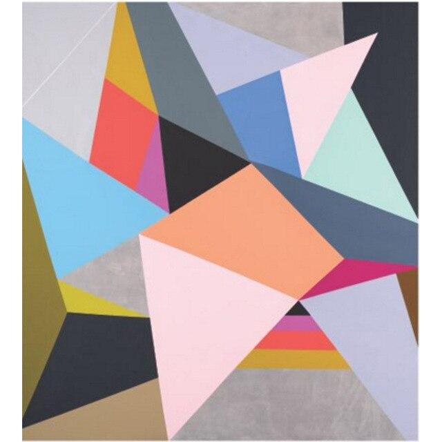 Pinturas a leo sobre tela pintado m o abstrata moderna for Cuadros con formas geometricas