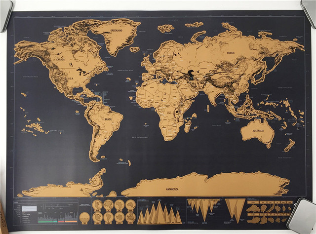 drop shipping  Deluxe blow poster Personalized World map poster Mini Foil Layer Coating Poster wall sticker  for living room